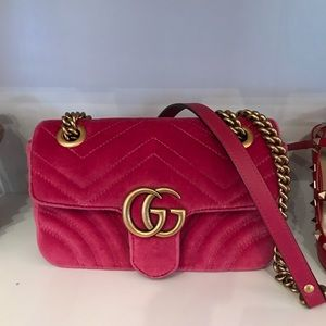 Gucci Marmont Gg Mini Quilted Velvet Pink Leather